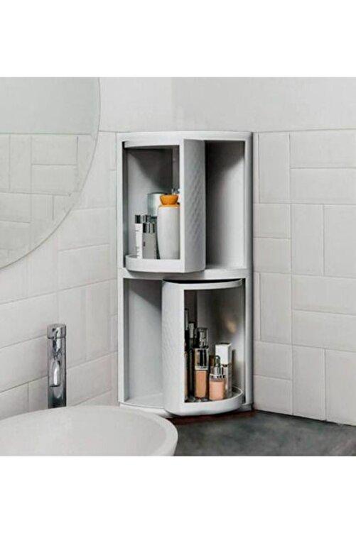 Acr Trend Banyo Ve Mutfak Dolabı Yeni Nesil 360 Derece Dönerli Çok Amaçlı 2 Raflı Beyaz Köşe Dolap 1