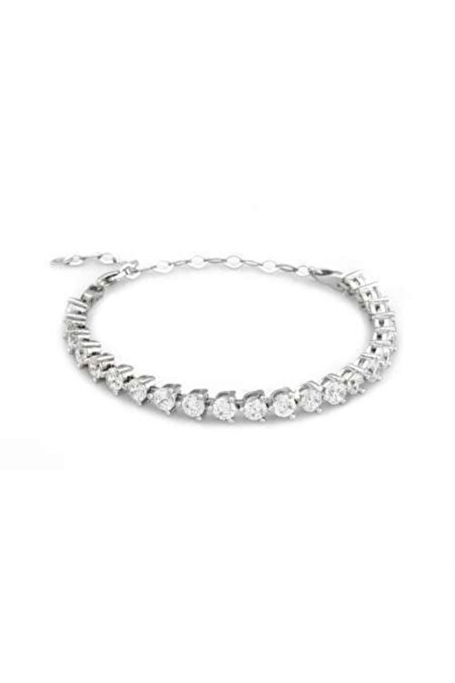 Tesbihane Starlight Diamond Pırlanta Montür Modern Tasarım Orta Boy 925 Ayar Gümüş Su Yolu Bileklik 2