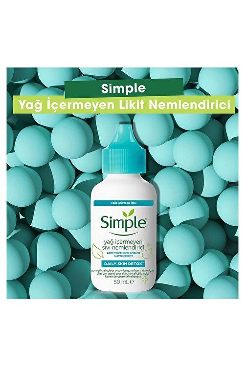 Simple Daily Skin Detox Yağlı Ciltler İçin Anında Matlaştıran Yağ İçermeyen Sıvı Nemlendirici 50 ml 2