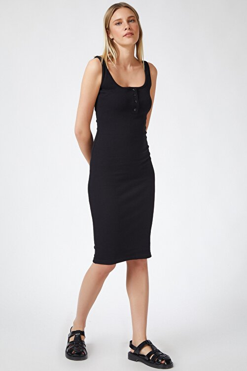 Happiness İst. Kadın Siyah Askılı Fitilli Elbise PG00004 1