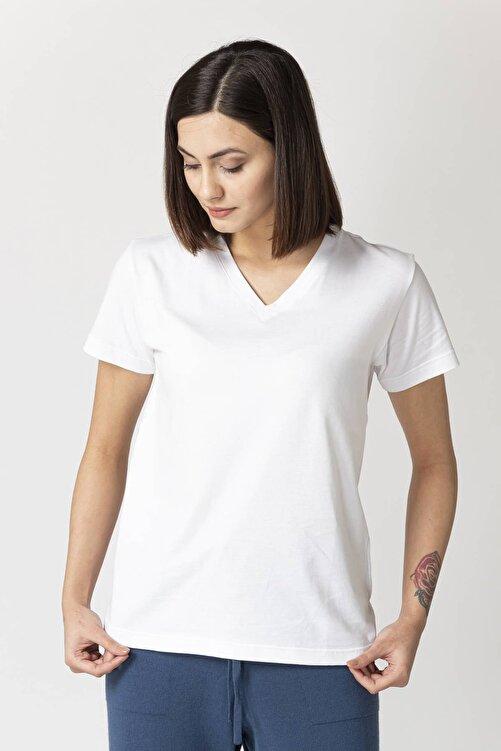 Eleventy Kadın Beyaz  Koton  V-yaka Basıc Tişört 2