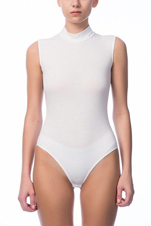 NBB Kadın Beyaz O Yaka Sıfır Kol Çıtçıtlı Body NBB 2950 1
