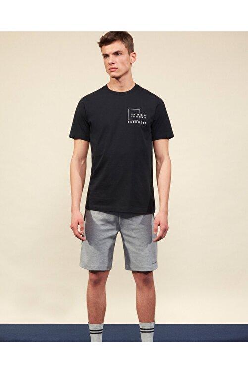 SKECHERS Graphic Tee M Crew Neck T-Shirt Erkek Siyah Tshirt 1