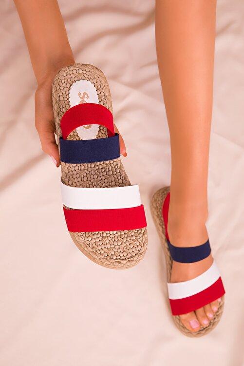 SOHO Kırmızı-Beyaz-Lacıvert Kadın Sandalet 15098 1