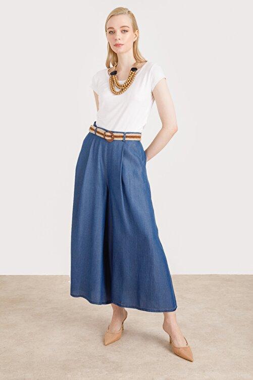 Ekol Kadın Lacivert Kemerli Etek Pantolon 1