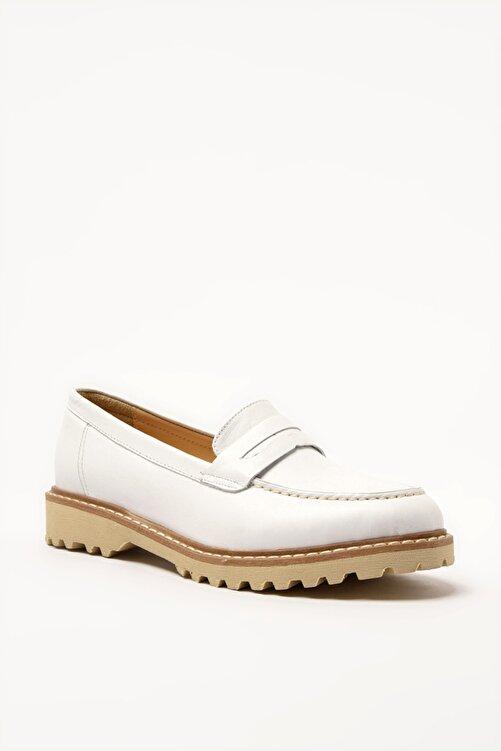 Hotiç Hakiki Deri Beyaz Kadın Loafer Ayakkabı 01AYH205160A900 2