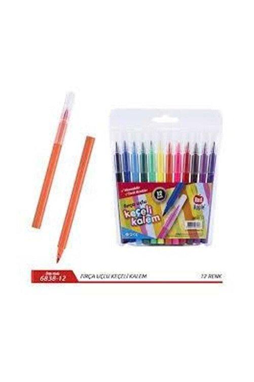 Faber Castell Red Apple 12 Renk Jumbo Fırça Uçlu Keçeli Kalem 1