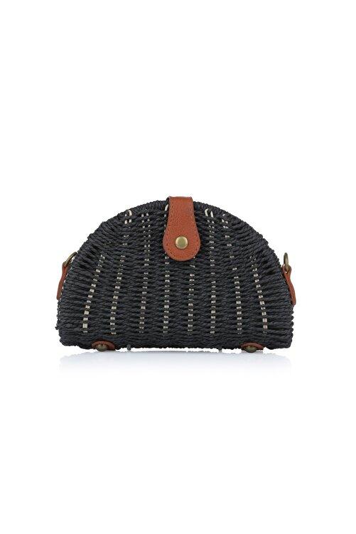 Oblavion Kadın Siyah Hasır Çanta 1008 1