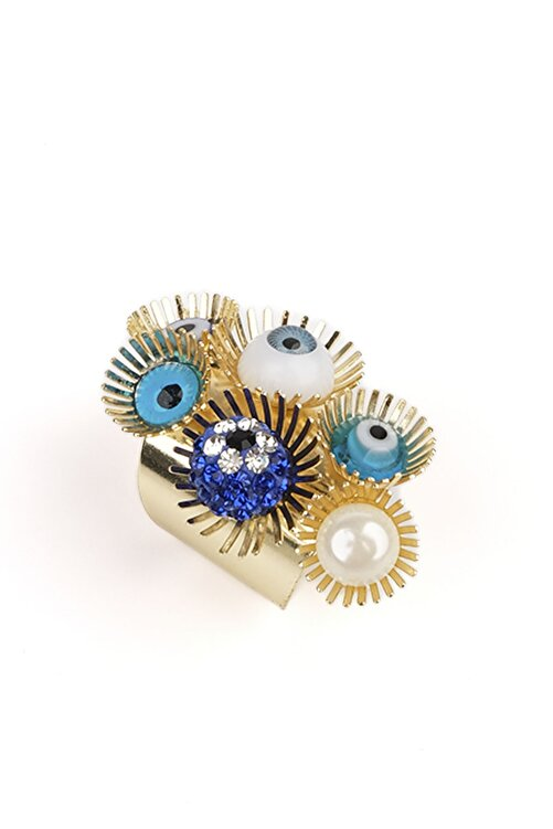 Marjin Kadın Altın Renkli Mavi Göz Ve Nazar Tasarım İri Yüzük 2