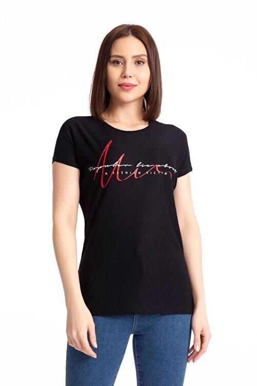 GİYSA Baskılı Siyah Salaş T-shirt 19599 1