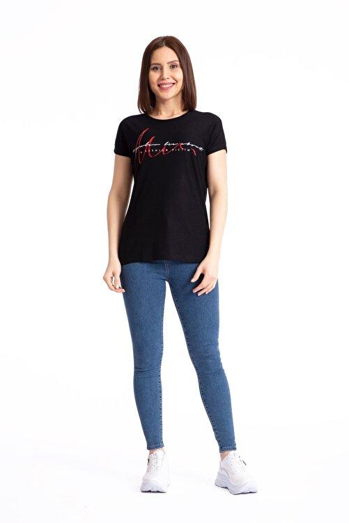 GİYSA Baskılı Siyah Salaş T-shirt 19599 2