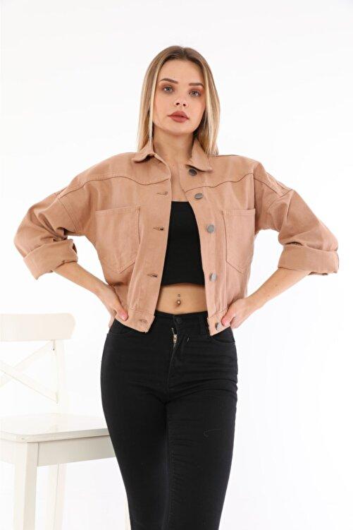 LaLuna Kadın Somon Crop Denim Ceket 2