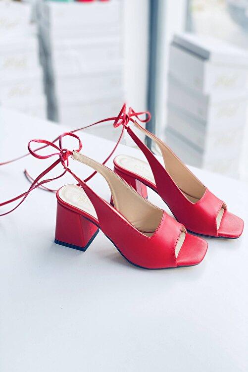 Mida Shoes Kırmızı Deri Bağıcıklı Topuklu Ayakkabı 2