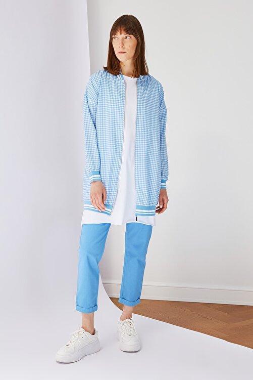 Trendyol Modest Açık Mavi Fermuar Detaylı Tesettür Ceket TCTSS21CE0410 2