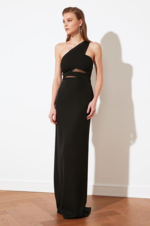 TRENDYOLMİLLA Siyah Yaka Detaylı Abiye & Mezuniyet Elbisesi TPRSS21AE0066 2