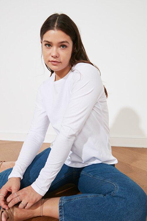 TRENDYOLMİLLA Beyaz Uzun Kollu Bisiklet Yaka Basic Örme T-Shirt TWOAW21TS0098 1