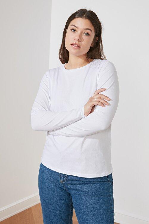 TRENDYOLMİLLA Beyaz Uzun Kollu Bisiklet Yaka Basic Örme T-Shirt TWOAW21TS0098 2
