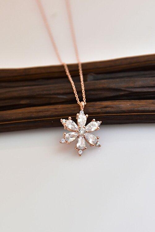 Papatya Silver 925 Ayar Gümüş Beyaz Taşlı Kamelya Çiçeği Kadın Kolye 2