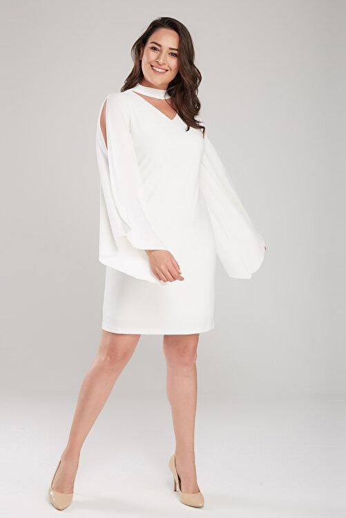 Laranor Kadın Ekru Kol Detaylı Elbise 17LB9098 1