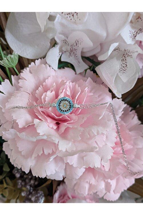 HERMO Kadın Gümüş Nazar Zirkon Taşlı  Bileklik 1