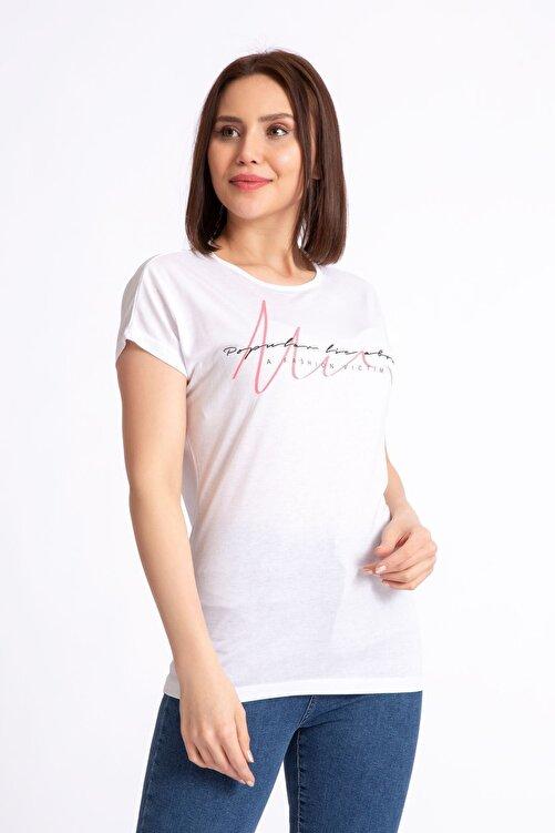 GİYSA Kadın Beyaz A Fashion Baskılı Salaş T-shirt 19599 2