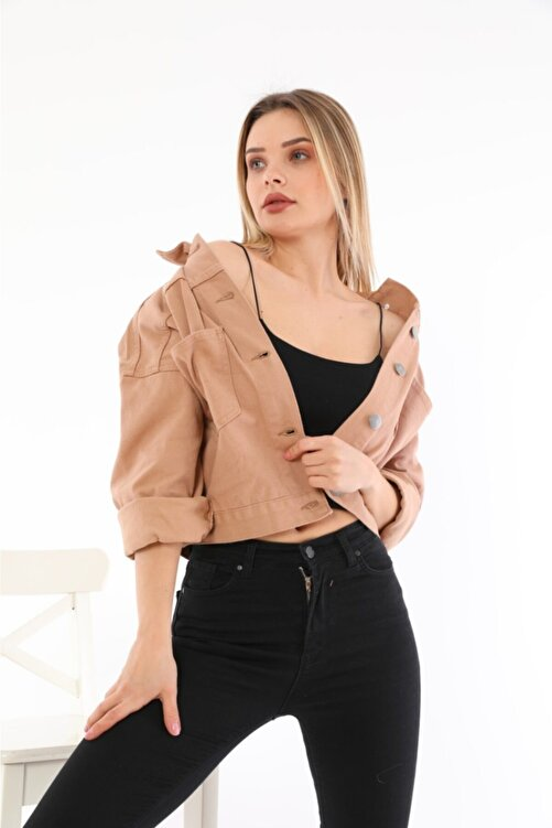 LaLuna Kadın Somon Crop Denim Ceket 1