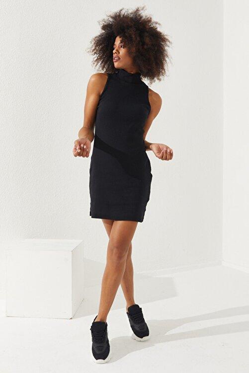 Reyon Kadın Pamuklu Sıfır Kol Yarım Balıkçı Kaşkorse Elbise Siyah 1