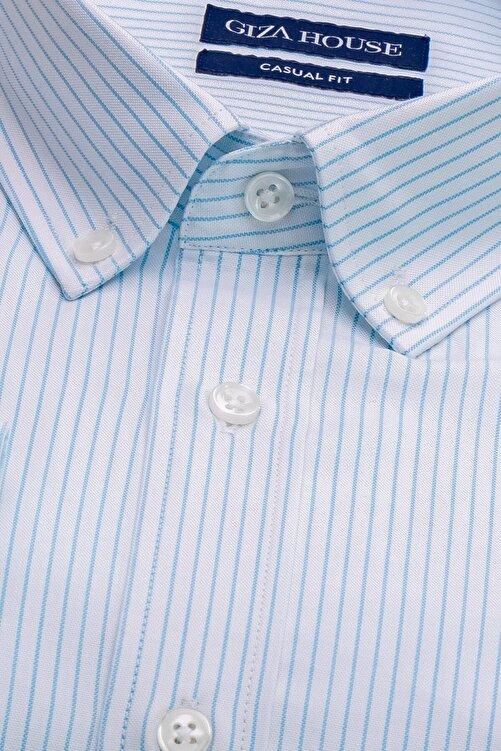 GIZA HOUSE Madison Erkek Mavi Çizgili Yaka Düğmeli Casual Fit Lüks Pamuklu Gömlek 2
