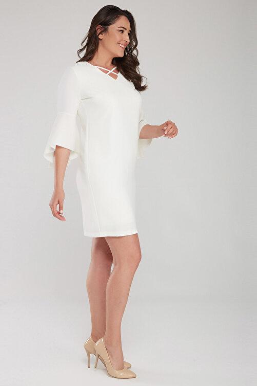 Laranor Kadın Ekru Kol Ve Yaka Biye Detaylı Elbise 17LB9108 2