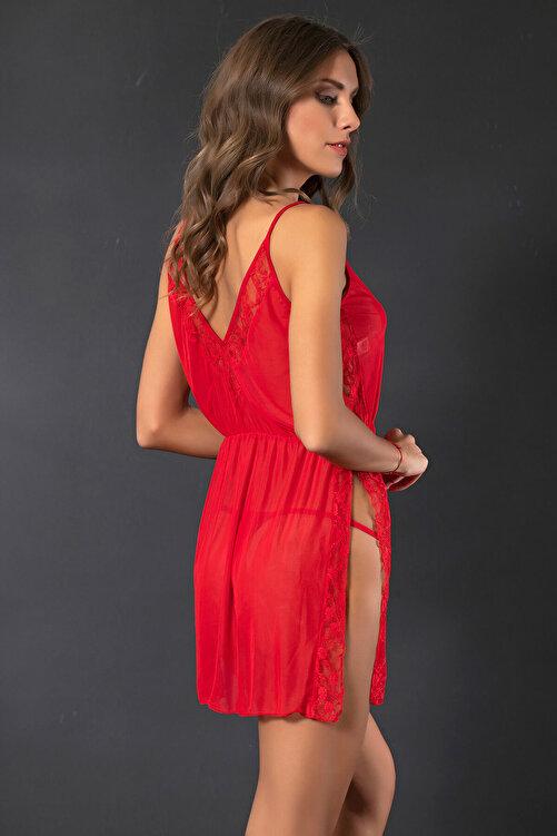 Siyah İnci Kadın Kırmızı Dantelli Gecelik Takım 2075 2