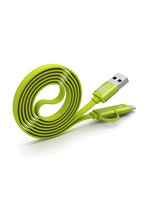 Pineng PN-304 Yüksek Hızlı Lightning ve Micro USB Yeşil Data Sarj Kablosu 2