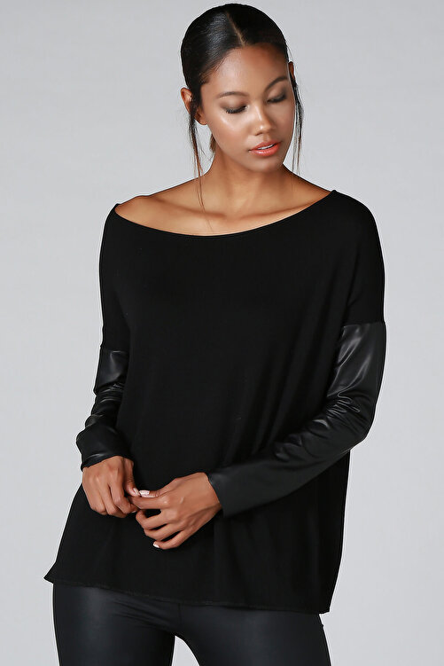 Quincey Kadın Siyah Deri Kol Detay Triko Kazak BD2288 2