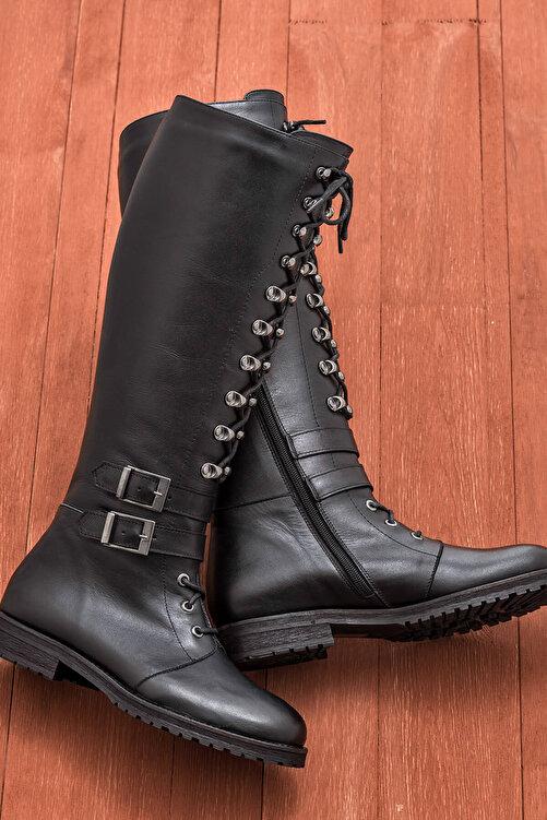 Elle Shoes BECA Hakiki Deri Siyah Kadın Çizme 1