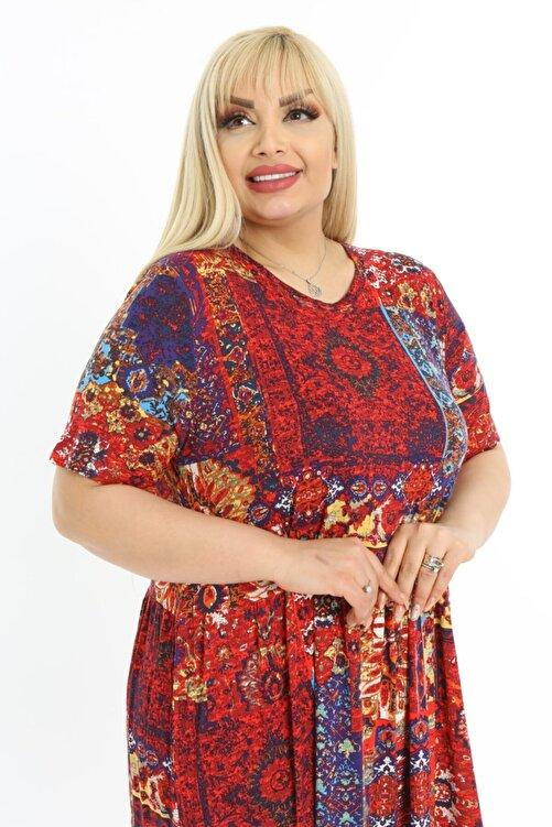LİKRA Kadın Kırmızı Büyük Beden Etnik Desen Katlı Büzgülü Viskon Elbise 2