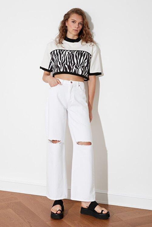 TRENDYOLMİLLA Beyaz Desen Bloklu Örme Bluz TWOSS21BZ1522 2