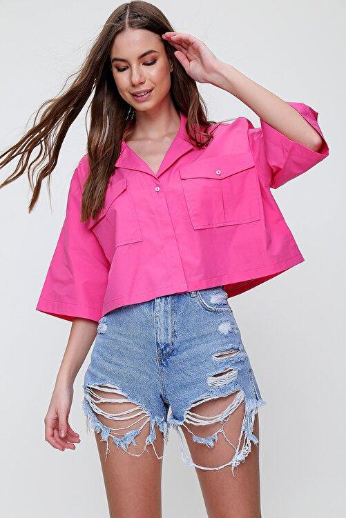 Trend Alaçatı Stili Kadın Fuşya Zarf Cepli Crop Poplin Gömlek ALC-X6045 2