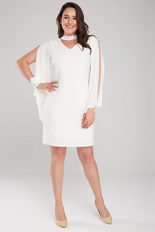 Laranor Kadın Ekru Kol Detaylı Elbise 17LB9098 2