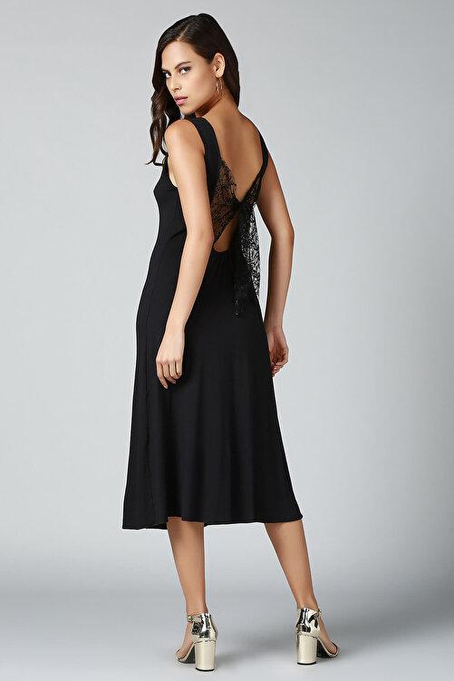 Quincey Kadın Siyah Sırt Detaylı Elbise EB2492 1