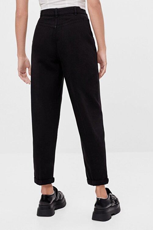 Bershka Kadın Siyah Kıvrık Paçalı Slouchy Pantolon 2