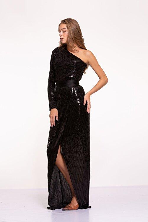 Tuba Ergin Kadın Siyah Komple Boncuk Işlemeli Nervür Kemer Detaylı Tek Kol Yırtmaçlı Maxi Trina Elbise 2