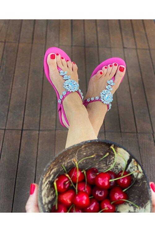 Oblavion Lavin Hakiki Deri Fuşya Pembe Taşlı Sandalet 2