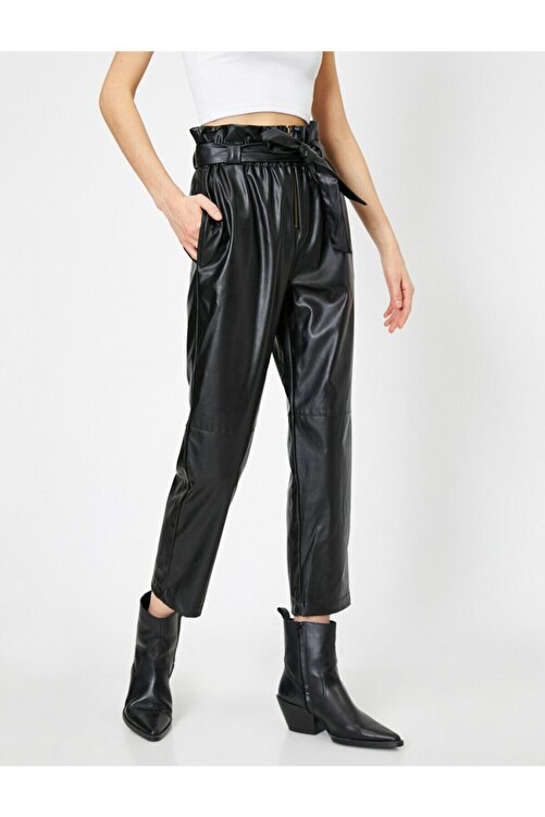 Koton Kadın Siyah Suni Deriden Beli Bağlamalı ve Büzgülü Pantolon 1