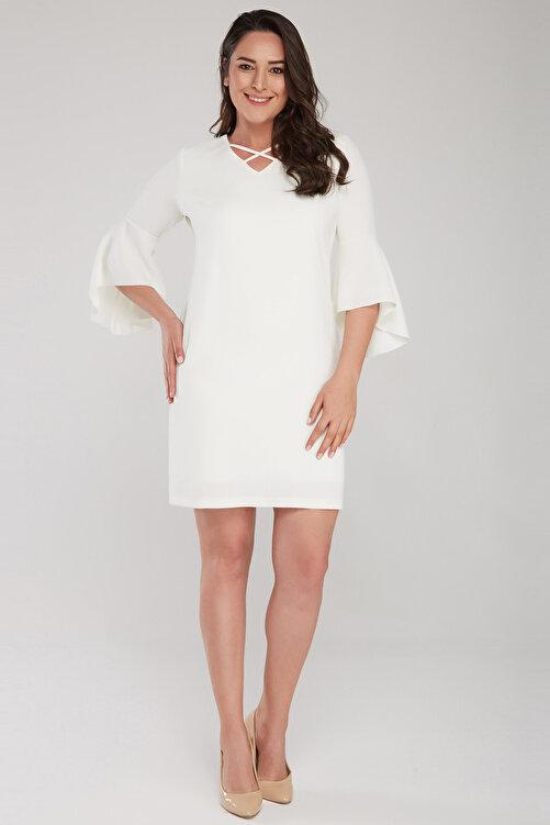 Laranor Kadın Ekru Kol Ve Yaka Biye Detaylı Elbise 17LB9108 1