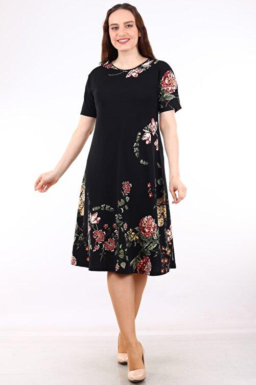Alesia Kadın Siyah Kısa Kollu Desenli Krep Elbise MHMT034 1