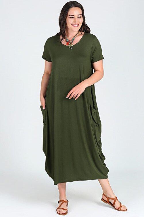 Moda Cazibe Kadın Kısa Kol Jumbo Elbise M9139 2