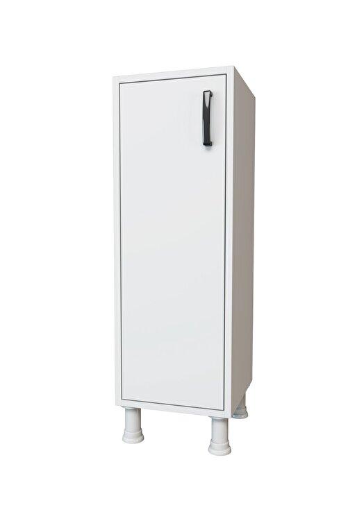 Rani Mobilya F3 Çok Amaçlı Dolap Tek Kapaklı 3 Raflı Banyo Balkon Mutfak Dolabı Beyaz M3 2