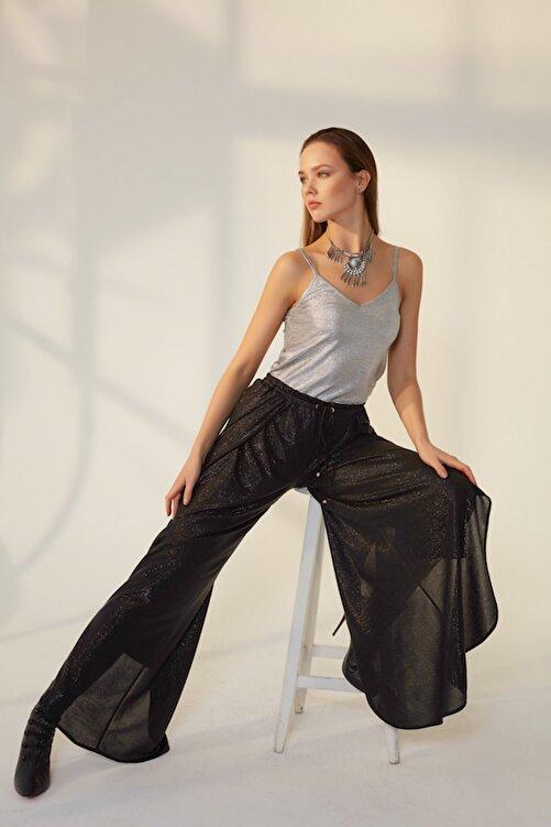Hanna's by Hanna Darsa Kadın Siyah Bol Paçalı Siyah Varaklı Pantolon HN1175 1