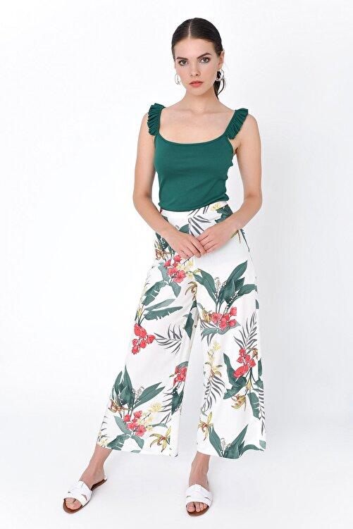 Hanna's by Hanna Darsa Kadın Beyaz Çiçek Desenli Bol Paça Pantolon HN2015 1