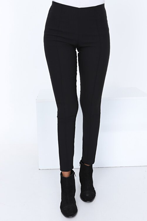 Patiska Kadın Siyah Çimalı Yüksek Bel Pantolon PTSK-7099 1