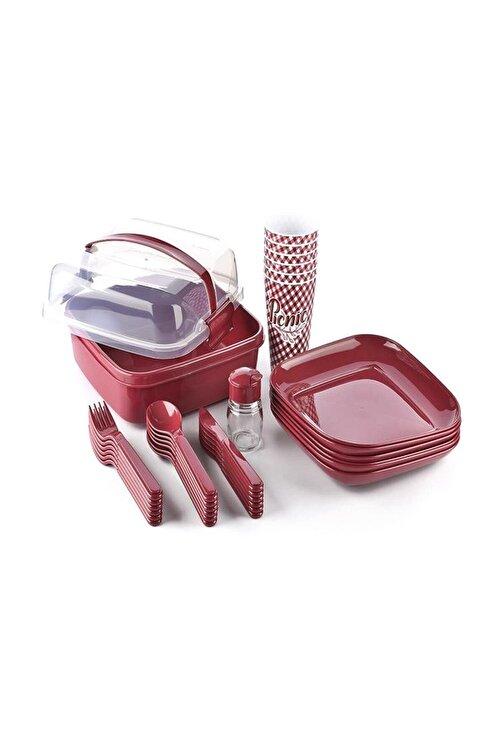 Titiz Lovely 32 Parça Piknik Seti Içiçe Geçebilen Çatal Kaşık Bıçak Bordo 1